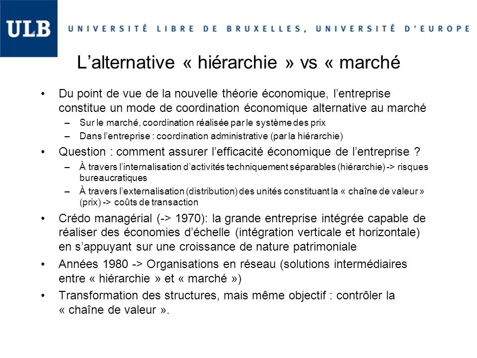 L'alternative « hiérarchie » vs « marché