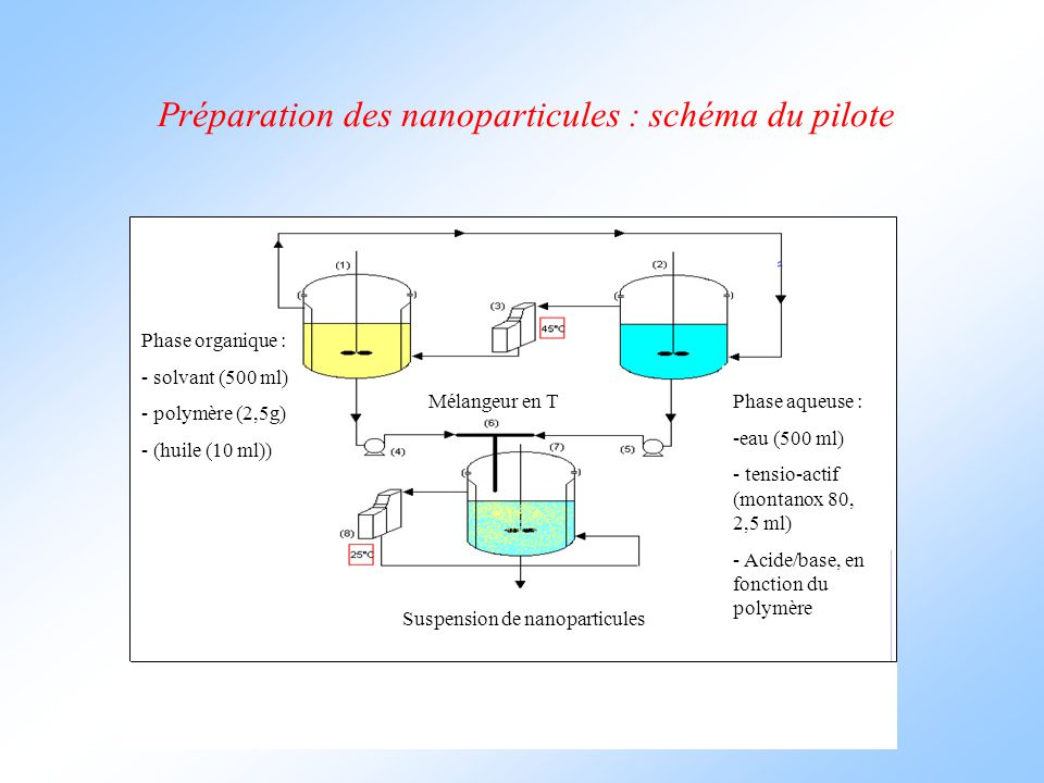 Préparation des nanoparticules : schéma du pilote