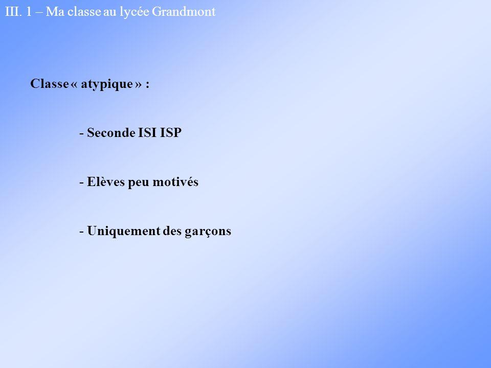 III. 1 – Ma classe au lycée Grandmont