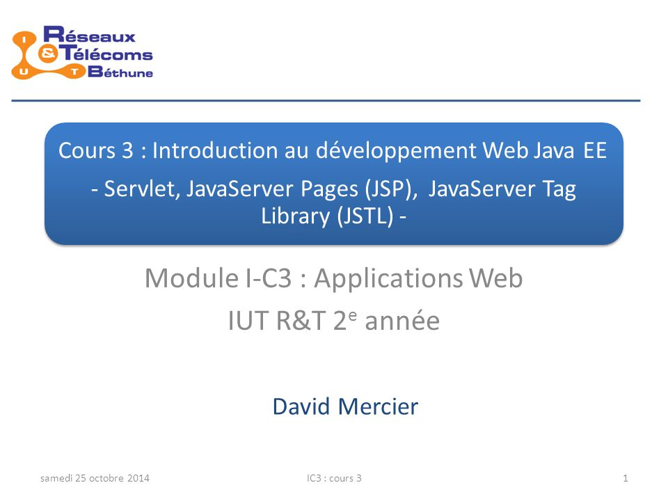 Module I-C3 : Applications Web IUT R&T 2e année