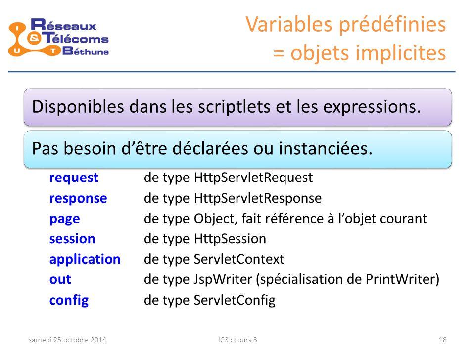 Variables prédéfinies = objets implicites