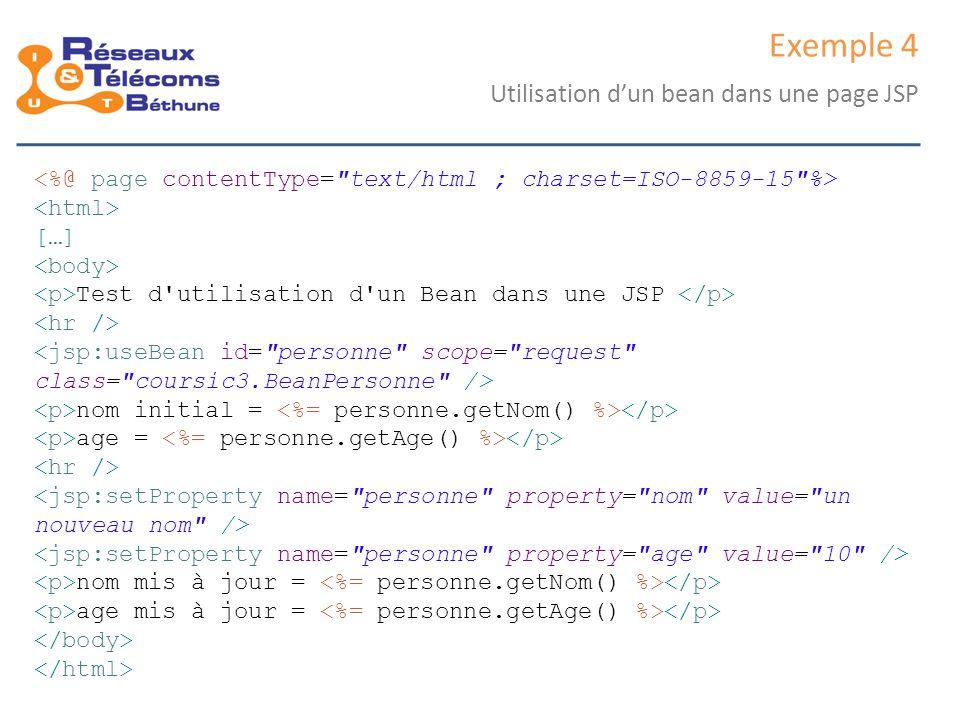 Exemple 4 Utilisation d'un bean dans une page JSP