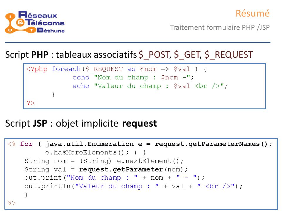 Script JSP : objet implicite request