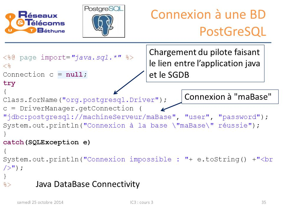 Connexion à une BD PostGreSQL