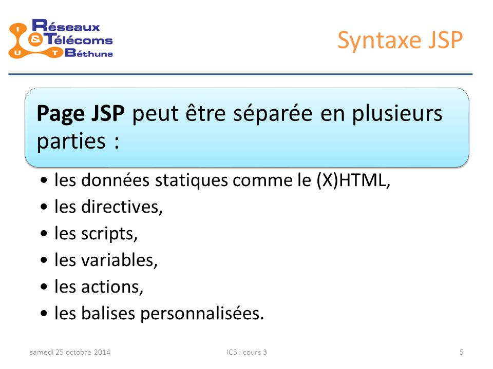 Syntaxe JSP jeudi 6 avril 2017 IC3 : cours 3