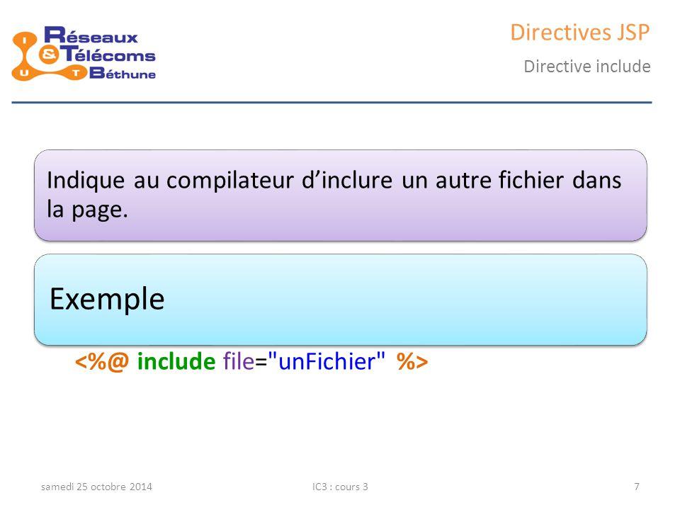 Directives JSP Directive include. Indique au compilateur d'inclure un autre fichier dans la page. Exemple.