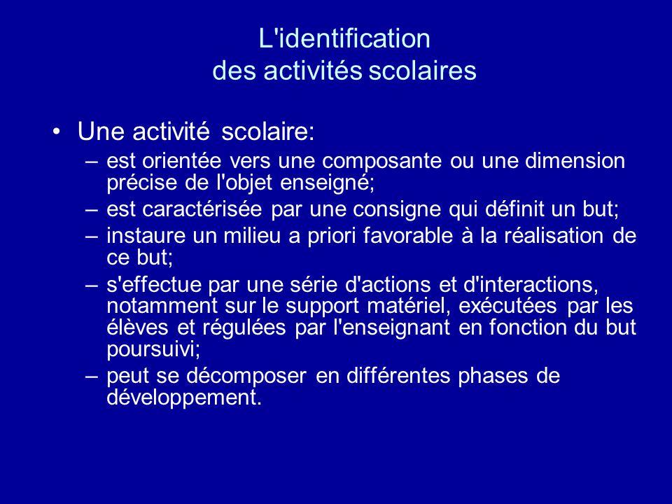 L identification des activités scolaires