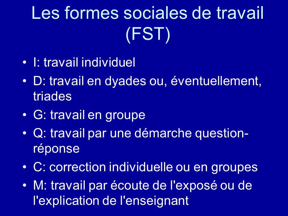 Les formes sociales de travail (FST)