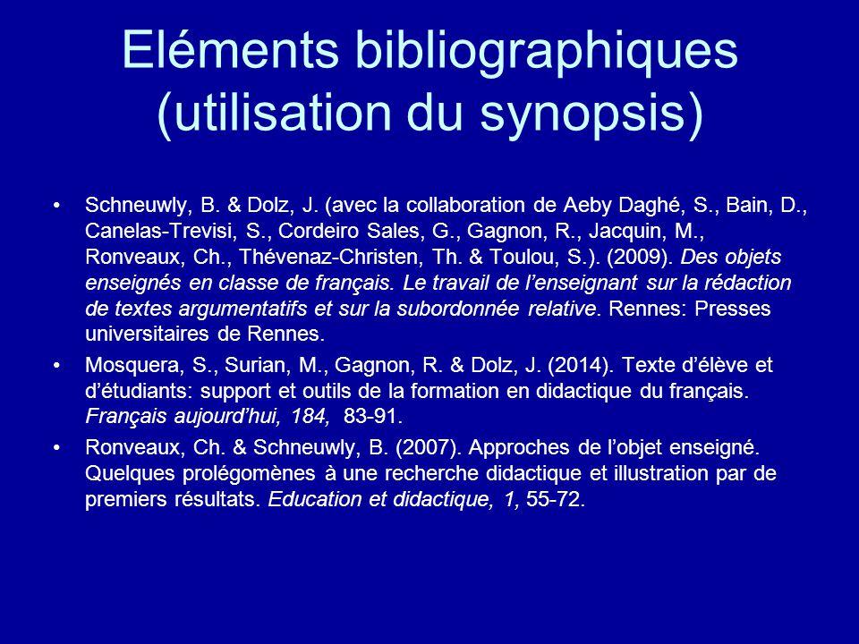 Eléments bibliographiques (utilisation du synopsis)