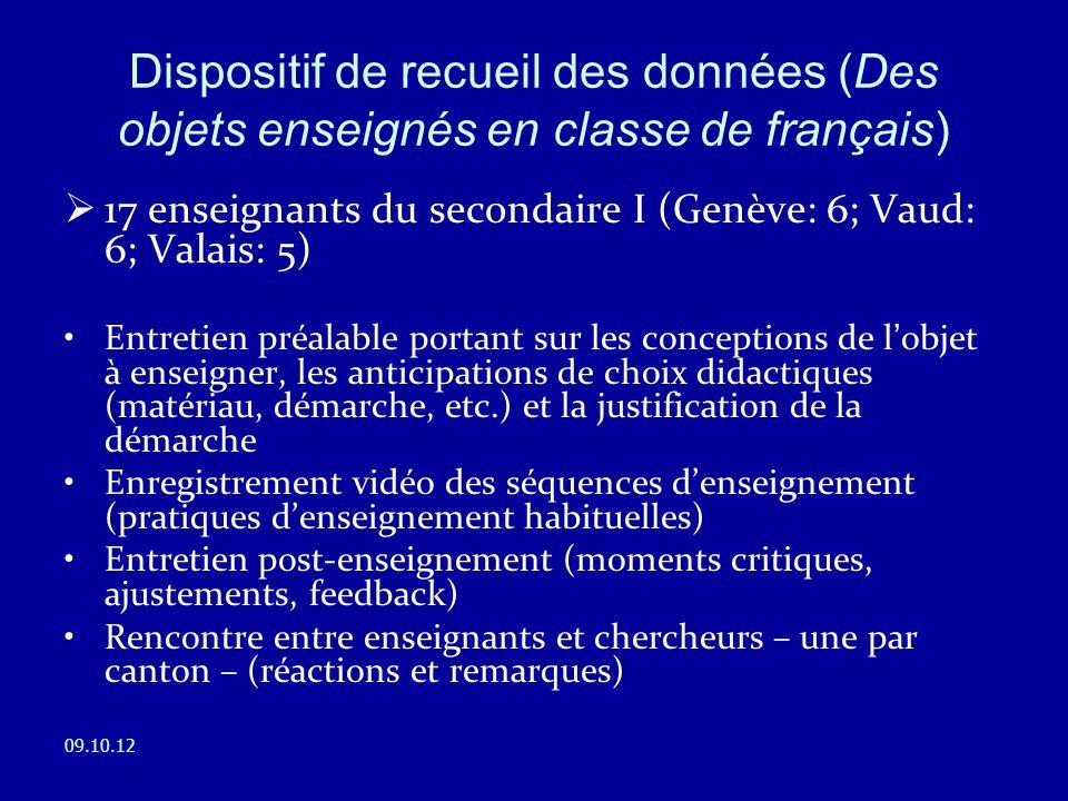 Dispositif de recueil des données (Des objets enseignés en classe de français)