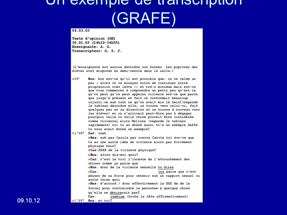 Un exemple de transcription (GRAFE)