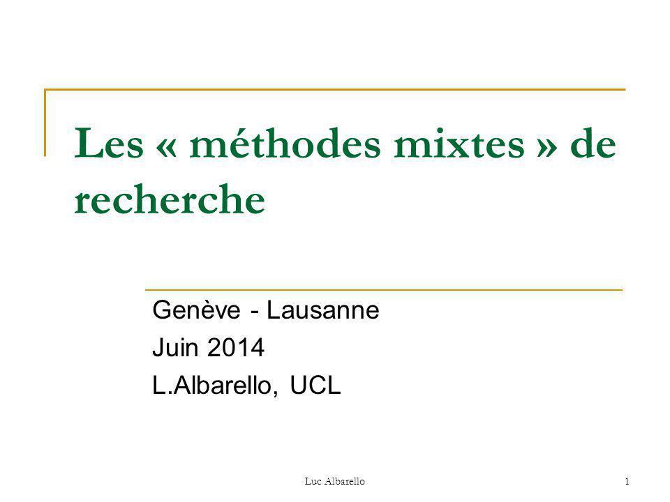 Les « méthodes mixtes » de recherche