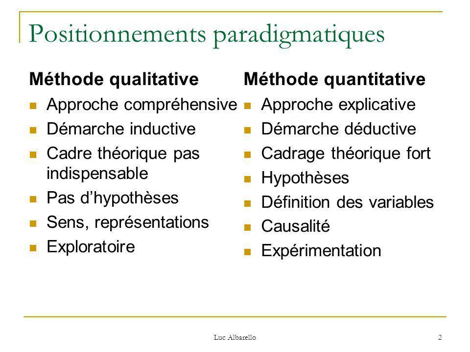 Positionnements paradigmatiques