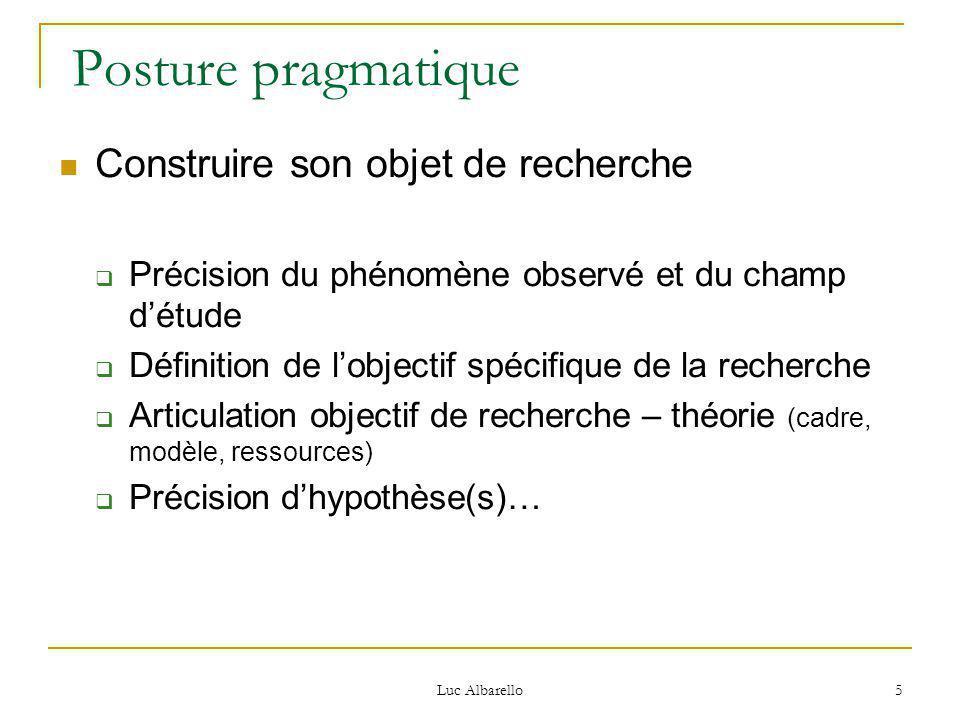 Posture pragmatique Construire son objet de recherche