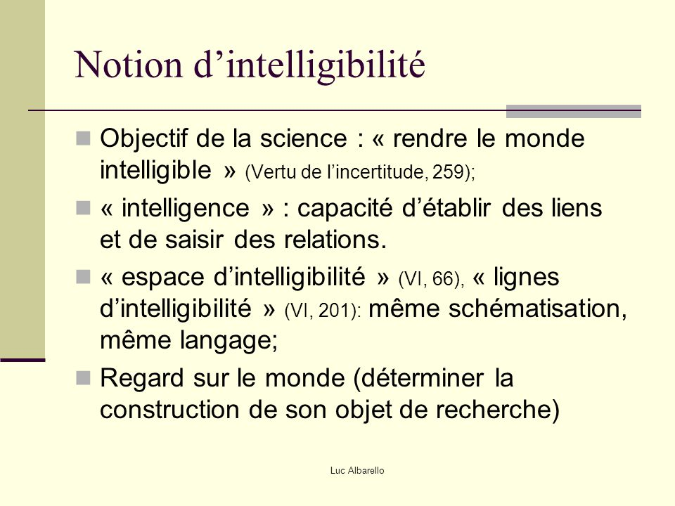 Notion d'intelligibilité