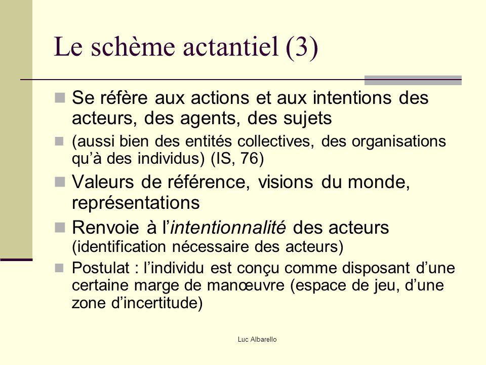 Le schème actantiel (3) Se réfère aux actions et aux intentions des acteurs, des agents, des sujets.