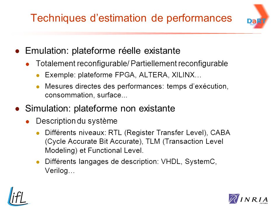 Techniques d'estimation de performances