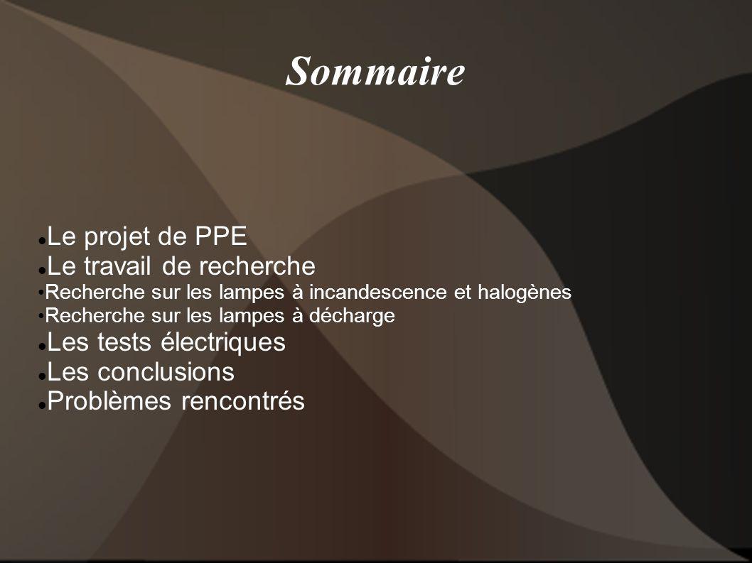 Sommaire Le projet de PPE Le travail de recherche