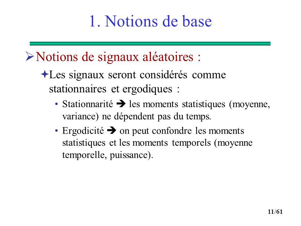 1. Notions de base Notions de signaux aléatoires :