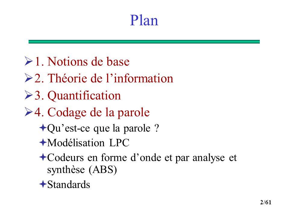 Plan 1. Notions de base 2. Théorie de l'information 3. Quantification