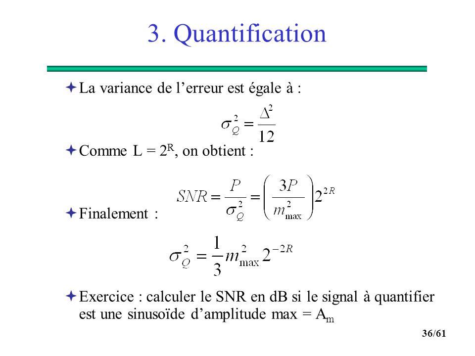 3. Quantification La variance de l'erreur est égale à :