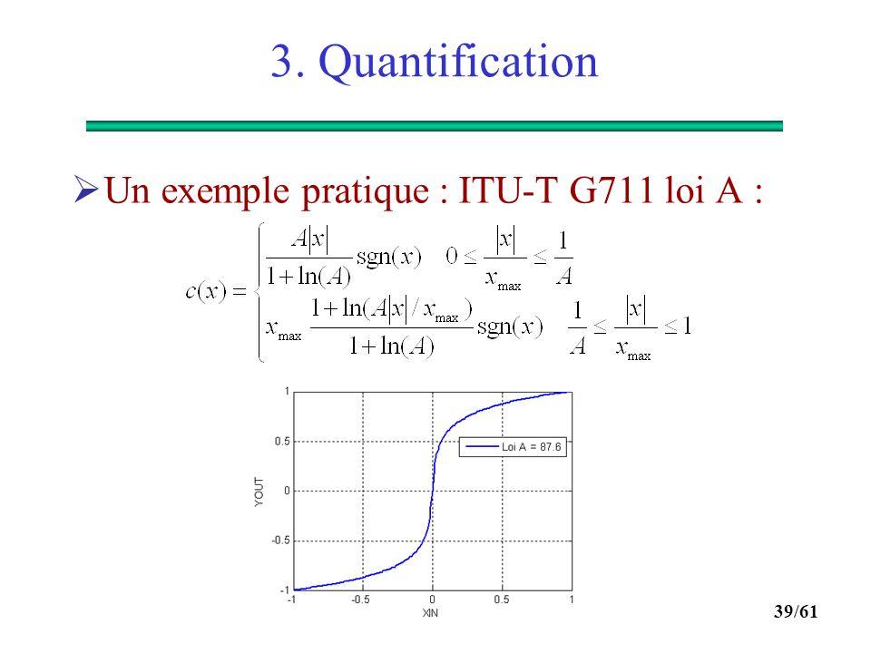 3. Quantification Un exemple pratique : ITU-T G711 loi A :