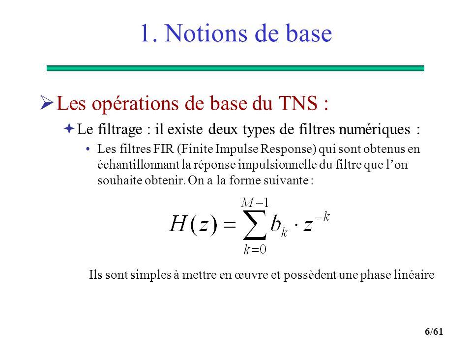 1. Notions de base Les opérations de base du TNS :