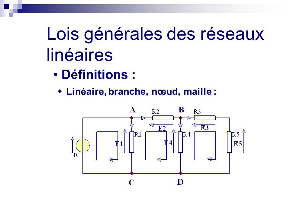 Lois générales des réseaux linéaires