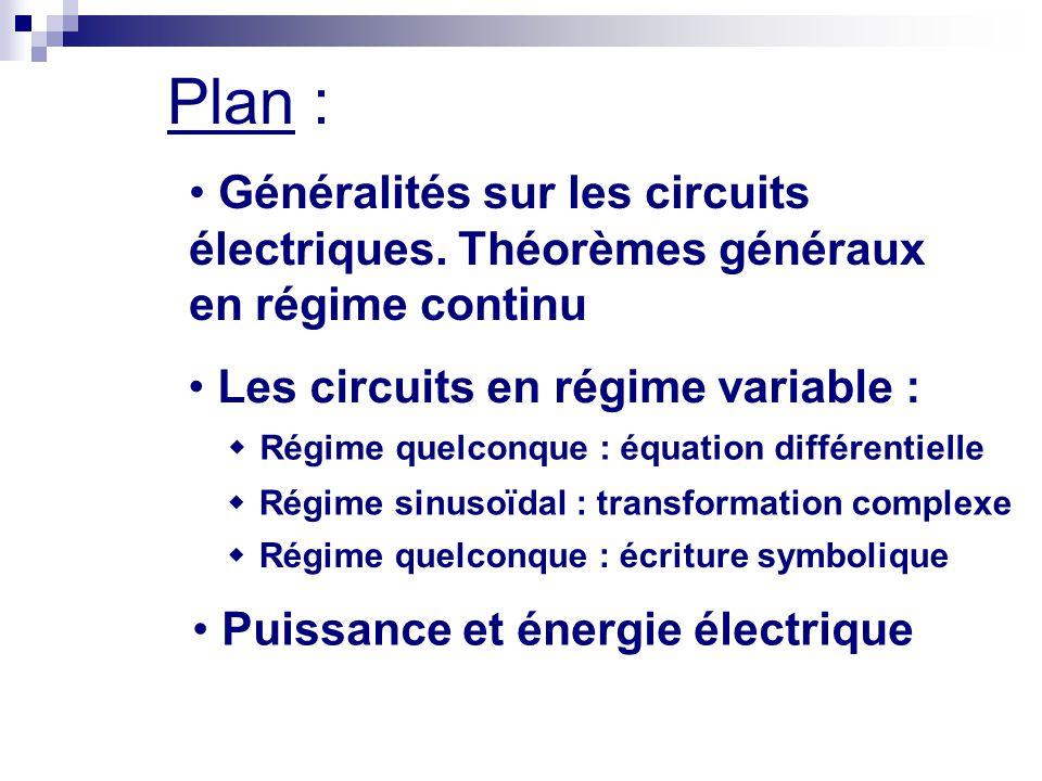 Plan : Généralités sur les circuits électriques. Théorèmes généraux en régime continu. Les circuits en régime variable :