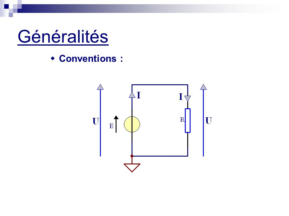 Généralités w Conventions :