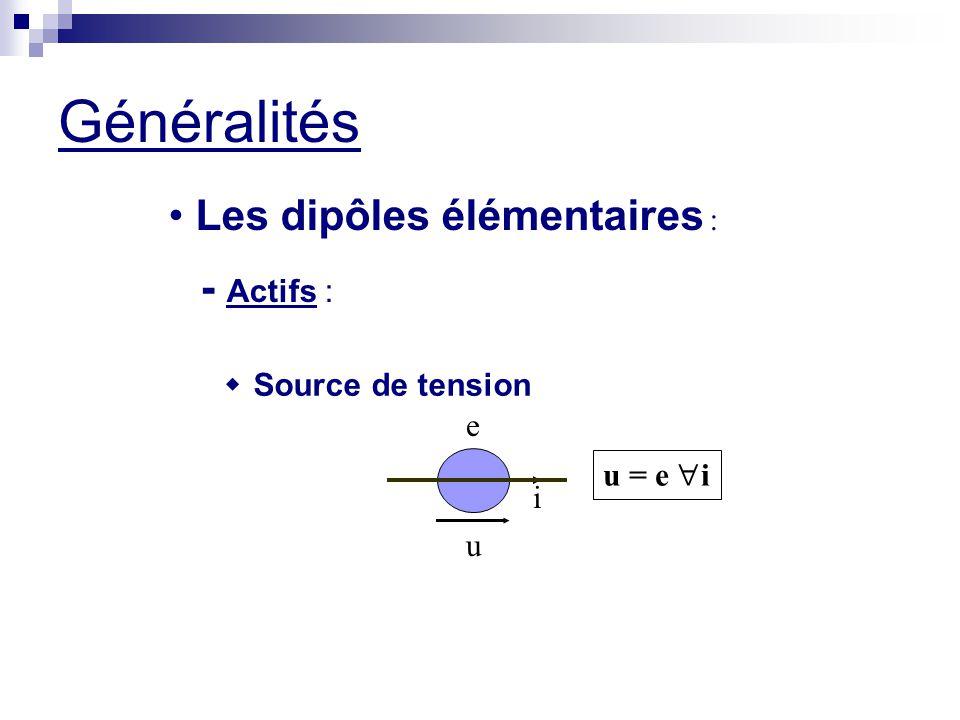 Généralités Les dipôles élémentaires : - Actifs : w Source de tension