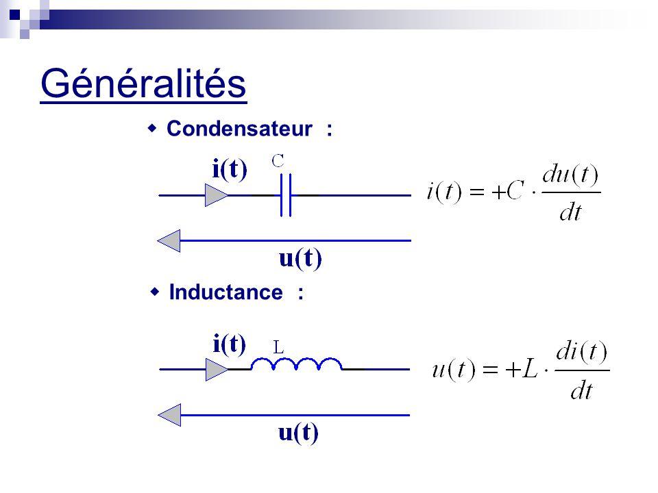 Généralités w Condensateur : w Inductance :