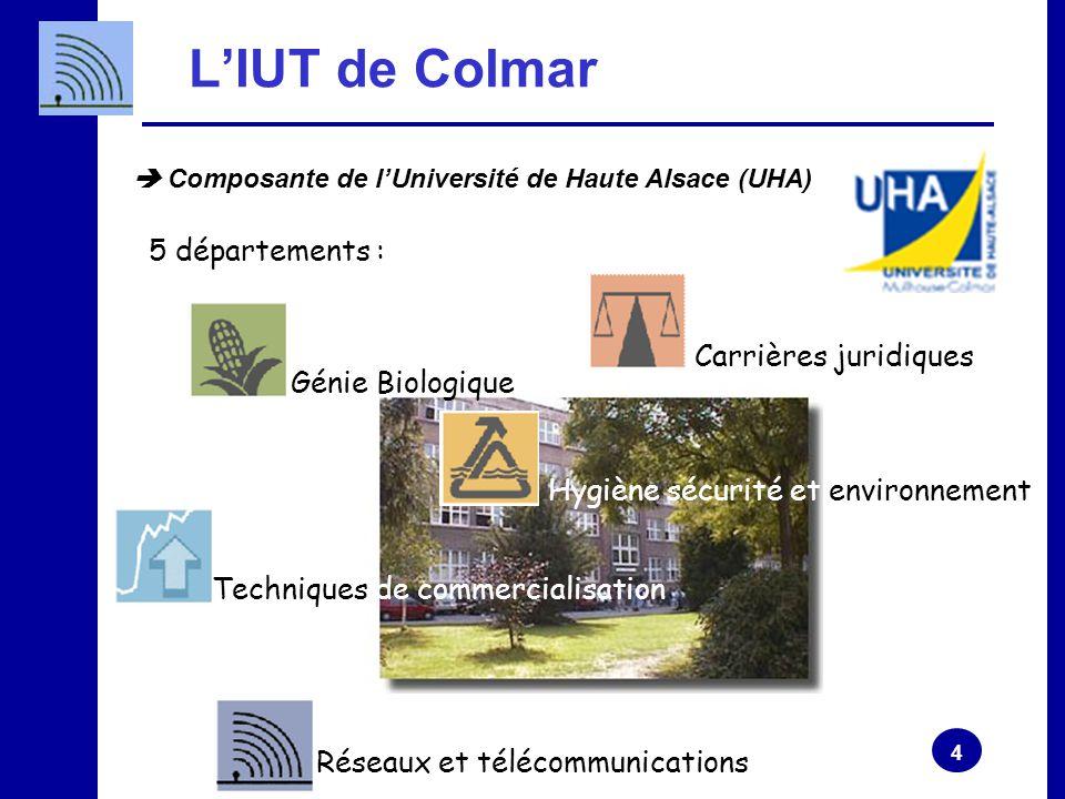 L'IUT de Colmar 5 départements : Carrières juridiques Génie Biologique