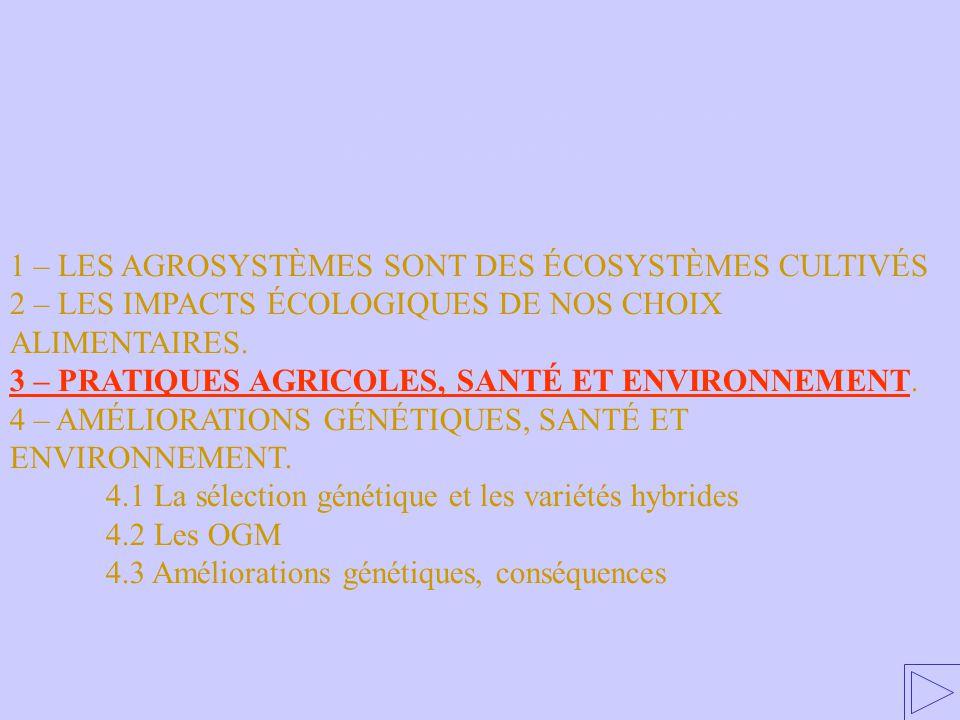 3 – PRATIQUES AGRICOLES, SANTÉ ET ENVIRONNEMENT