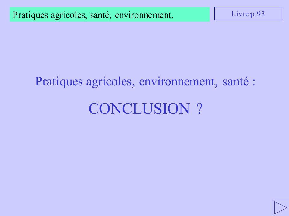 Pratiques agricoles, environnement, santé :