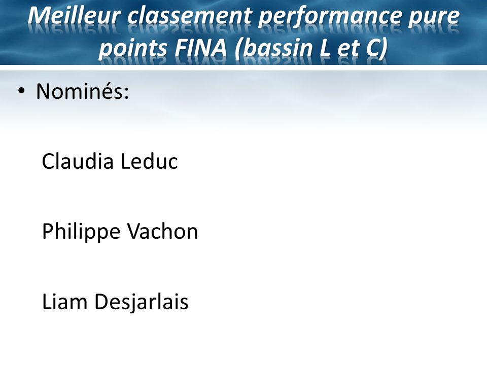 Meilleur classement performance pure points FINA (bassin L et C)