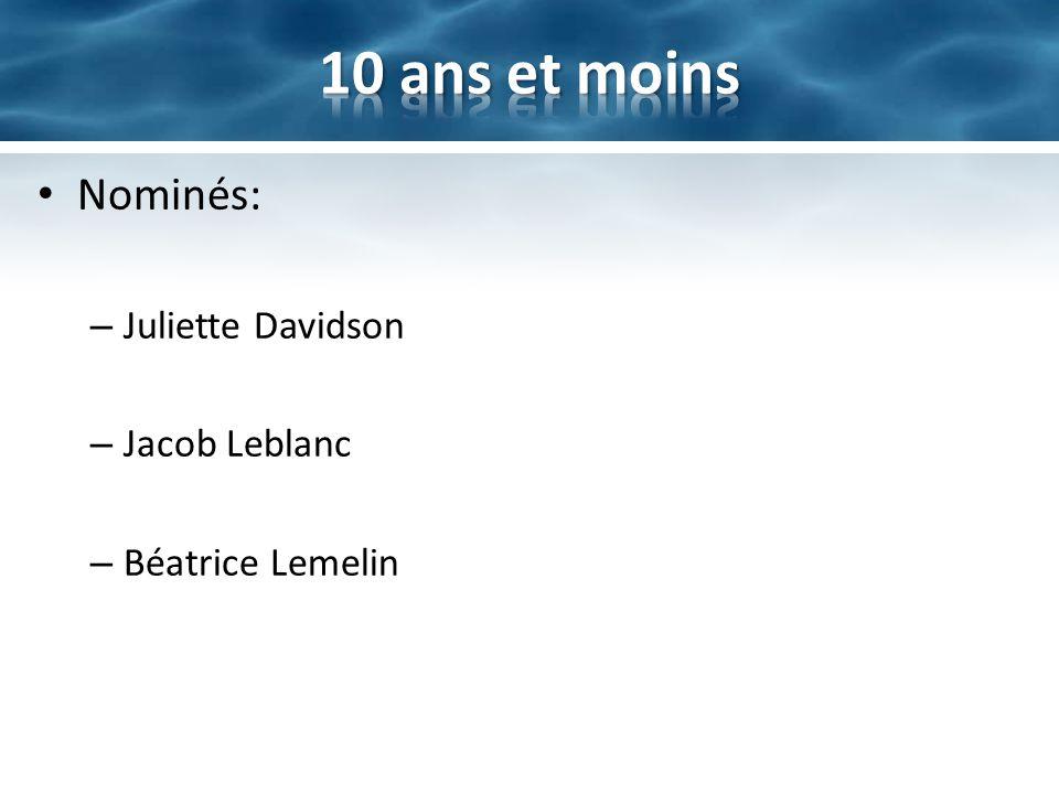 10 ans et moins Nominés: Juliette Davidson Jacob Leblanc