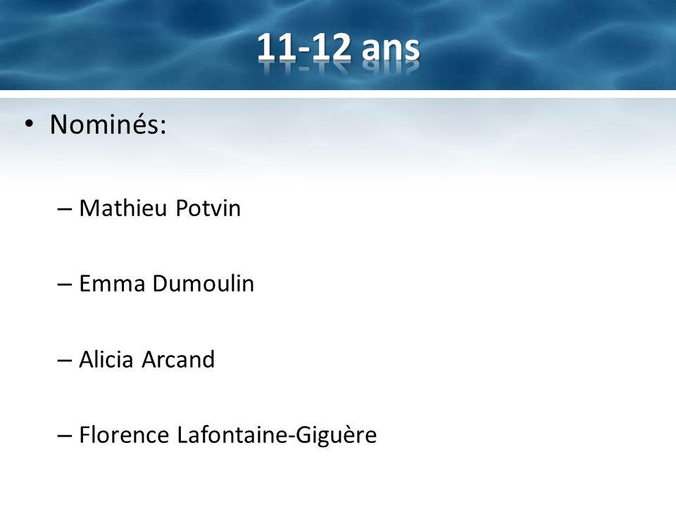 11-12 ans Nominés: Mathieu Potvin Emma Dumoulin Alicia Arcand