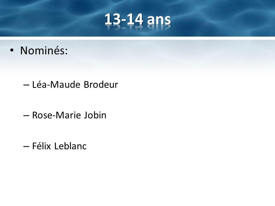13-14 ans Nominés: Léa-Maude Brodeur Rose-Marie Jobin Félix Leblanc