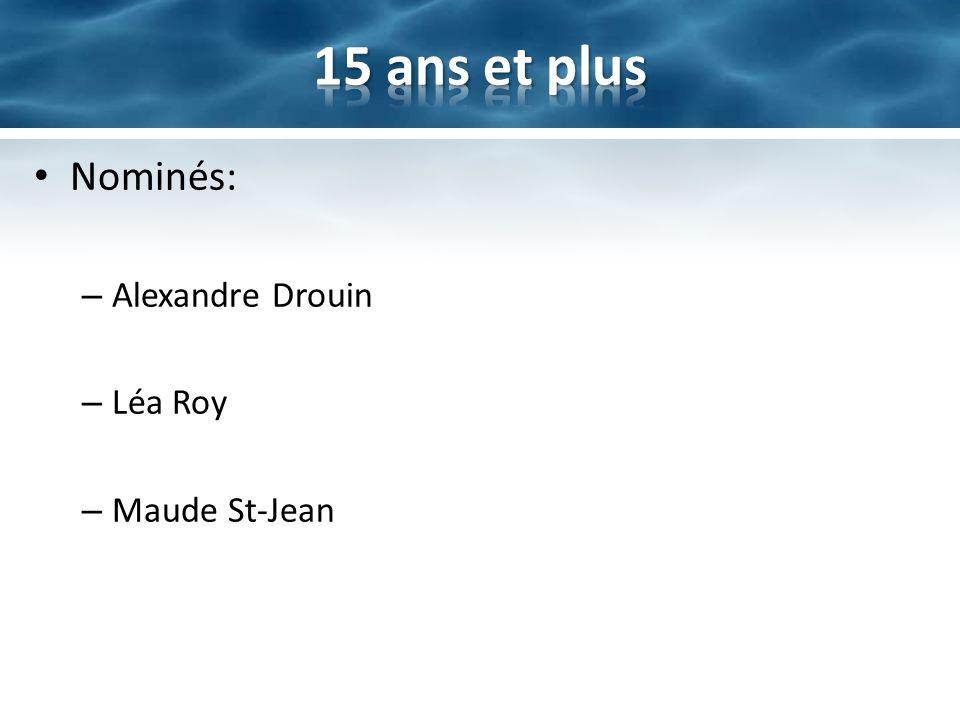 15 ans et plus Nominés: Alexandre Drouin Léa Roy Maude St-Jean