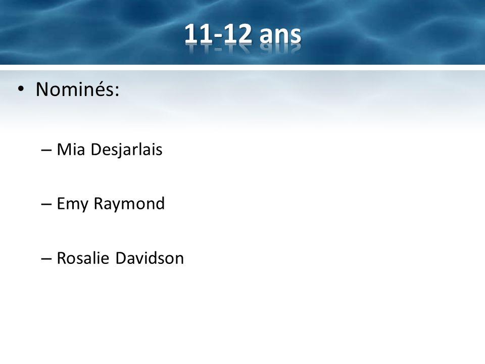 11-12 ans Nominés: Mia Desjarlais Emy Raymond Rosalie Davidson