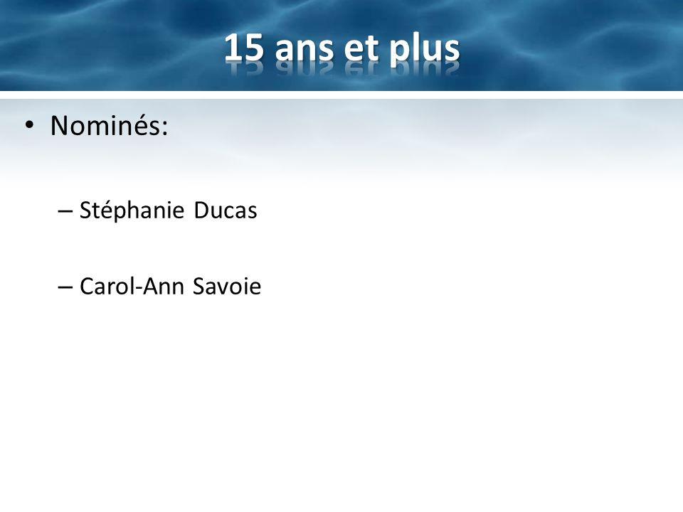 15 ans et plus Nominés: Stéphanie Ducas Carol-Ann Savoie