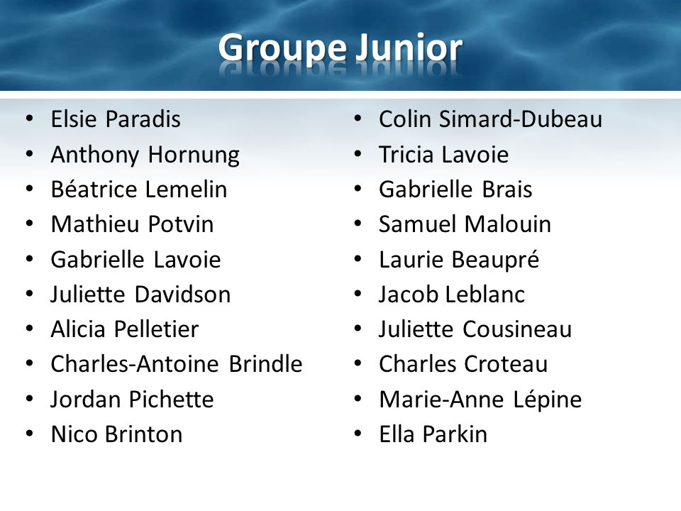 Groupe Junior Elsie Paradis Anthony Hornung Béatrice Lemelin