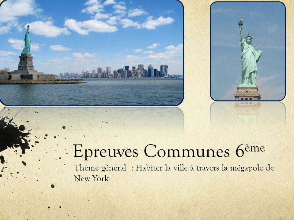 Thème général : Habiter la ville à travers la mégapole de New York