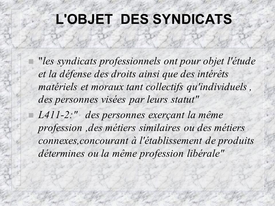 L OBJET DES SYNDICATS