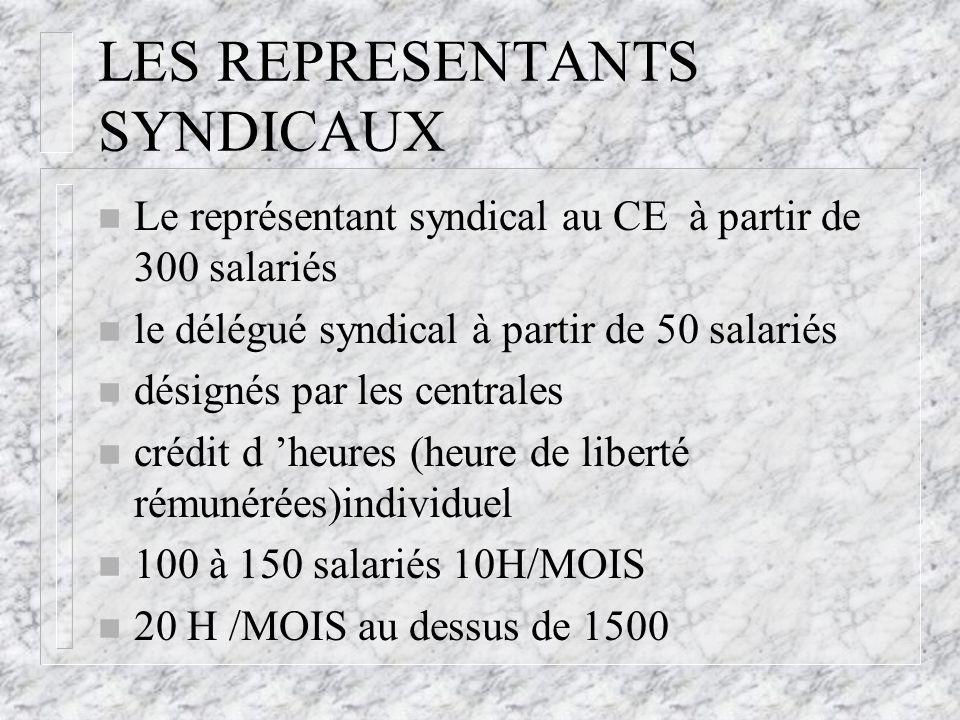 LES REPRESENTANTS SYNDICAUX