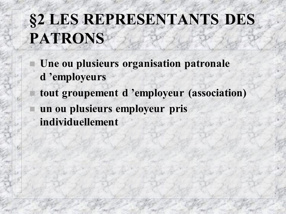 §2 LES REPRESENTANTS DES PATRONS
