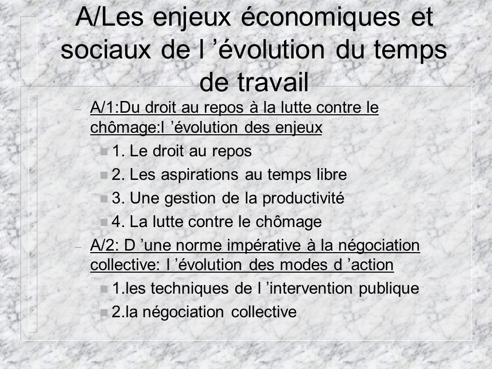A/Les enjeux économiques et sociaux de l 'évolution du temps de travail