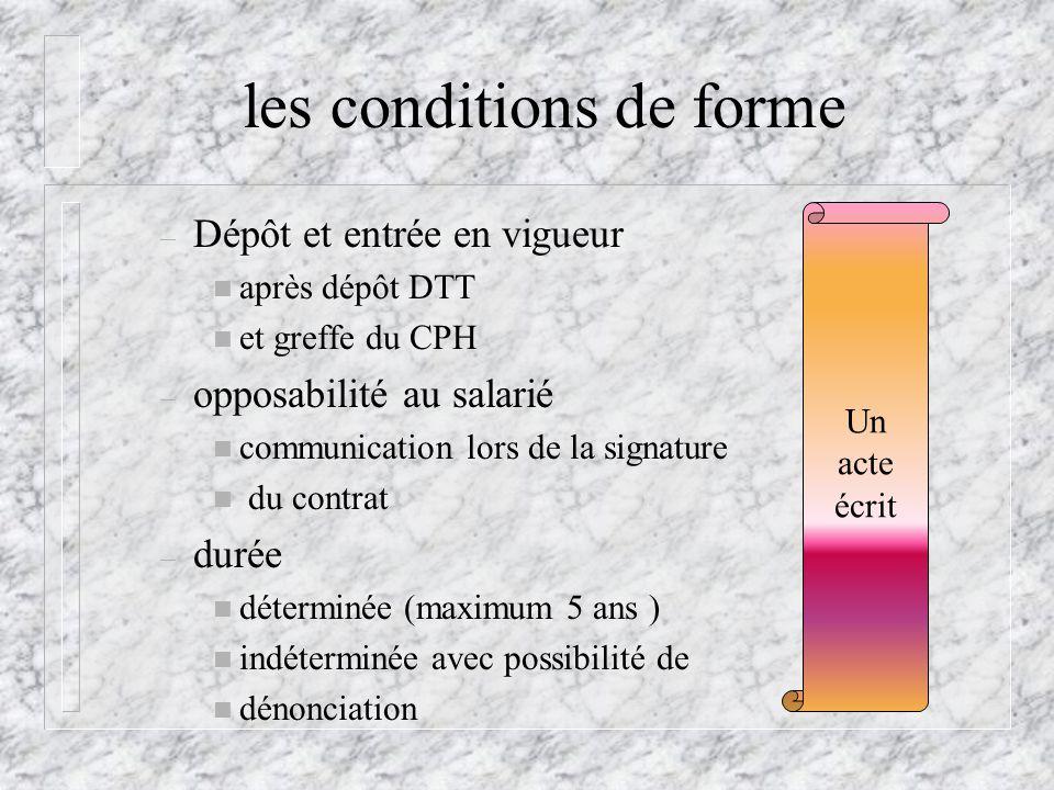 les conditions de forme