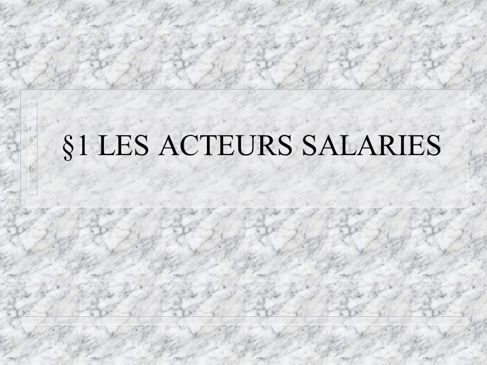 §1 LES ACTEURS SALARIES